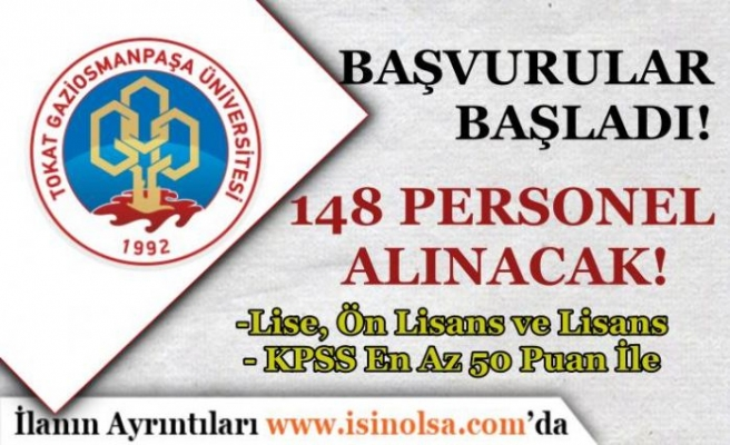 Gaziosmanpaşa Üniversitesi 50 KPSS İle 148 Personel Alımı Başvurusu Başladı!
