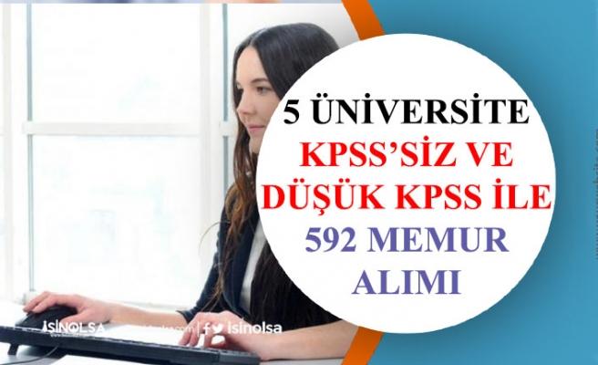 5 Üniversite 591 Memur Alımı Yapacak! Lise, Önlisans, Lisans. KPSS'siz, Düşük KPSS ile!