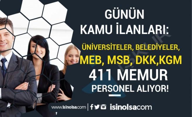 Üniersiteler-Belediyeler-KGM-MEB-MSB ve DKK 411 Memur Personel Alımı