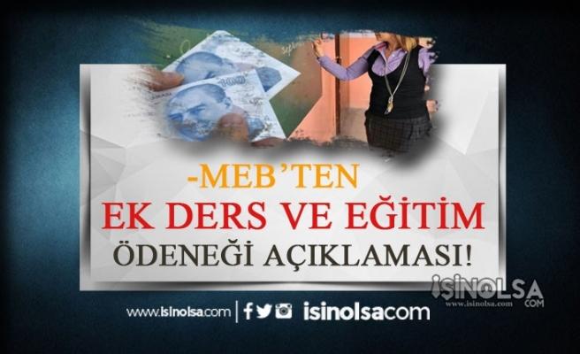 MEB'den Ek Ders ve Eğitim Ödeneği Açıklaması!