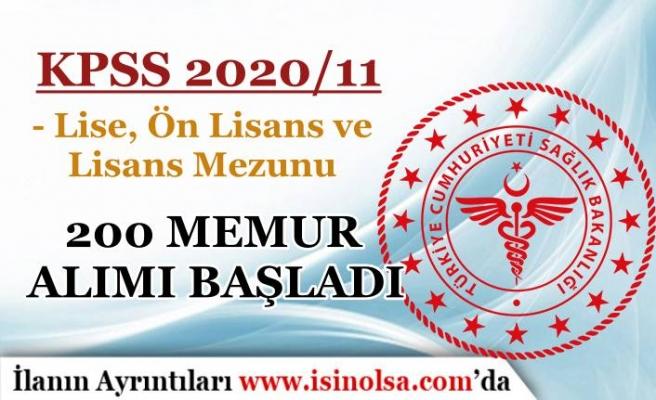 Sağlık Bakanlığı KPSS 2020/11 İle 200 Memur Alımı: Lise, Ön Lisans ve Lisans Mezunu