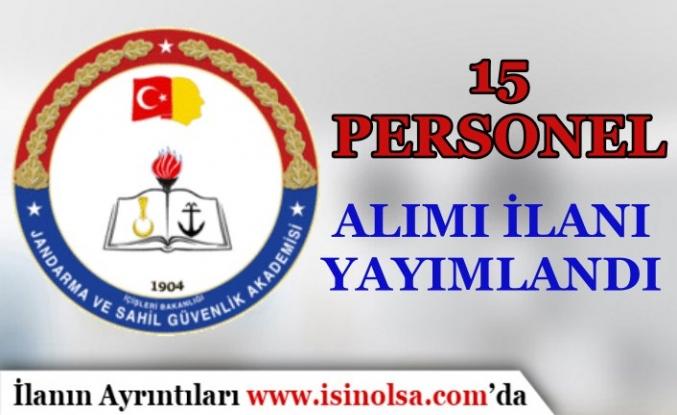 Jandarma ve Sahil Güvenlik Akademisi (JSGA)  15 Personel Alımı Yapacak