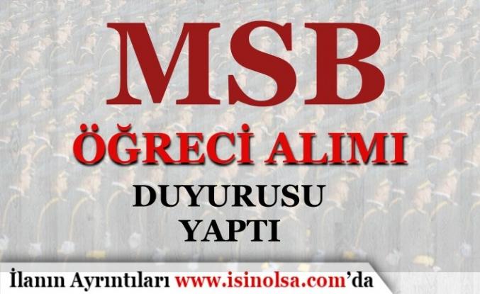MSB Sağlık Bilimleri Üniversitesi Askeri Öğrenci Temini Duyurusu