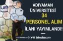 Adıyaman Üniversitesi İŞKUR Üzerinden 34 Kamu...