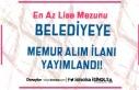 Belediyeye 60 ve 63 KPSS Puanı İle Memur Alım İlanı...
