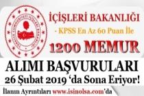 İçişleri Bakanlığı 1200 Kamu Personeli Alımı Başvuruları 26 Şubat 2019 Son!