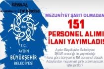 Aydın Büyükşehir Belediyesi 151 Personel Alımı Yapacak! Mezuniyet Şartsız