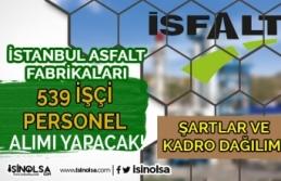 İstanbul Asfalt Fabrikaları ( İSFALT ) 539 İşçi Personel Alımı Kadro Dağılımı ve Şartlar