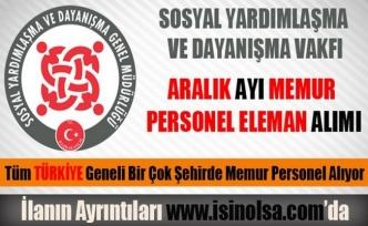 Aralık Ayı SYDV Memur Personel Eleman Alımları