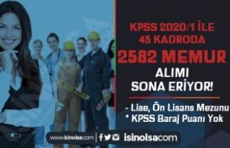 KPSS 2020/1 İle Mülakatsız 45 Kadro İle 2582 Memur Alımı Sona Eriyor!