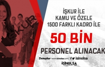 İŞKUR İle 1500 Kadroda Kamu ve Özele 50 Bin Personel Alımı Yapılacak