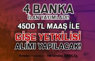 4 Banka 4500 TL Maaş İle Banka Gişe Yetkilisi ( Memuru) Alımı Yapıyor