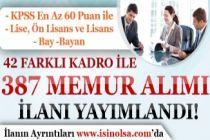 Belediye KPSS 60 Puan ve 42 Farklı Kadro  İle 387 Memur Alımı İlanı Yayımlandı!
