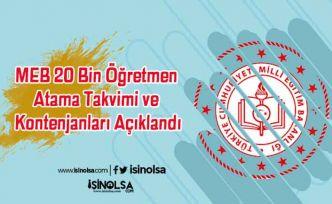 MEB 20 Bin Öğretmen Atama Takvimi ve Kontenjanları Açıklandı