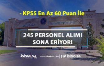 Akdeniz Üniversitesi 245 Sözleşmeli Personel Alımı Sona Eriyor