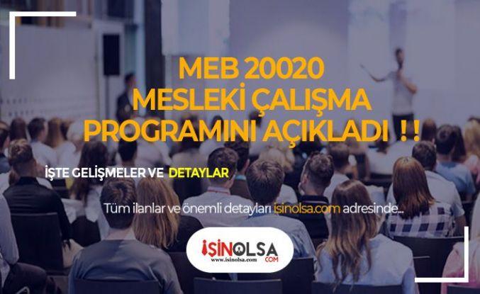 MEB 2020 Mesleki Çalışma Programını Açıkladı!